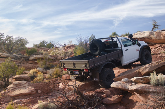 Prospector XL Tray Bed overcoming an obstacle with ARB air lockers
