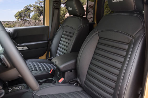 AEV leather seets in a Jeep Wrangler JK